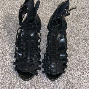 Black caged high heels